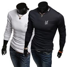 5723d5ea Casual Slim fit Stylish Autumn embroidery male hot-selling long-sleeve  round neck T-shirt
