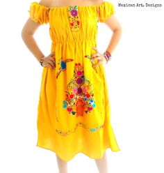 Señorita Off the Shoulder Mexican Embroidered Floral Embroidery Dress  Magnificent Handmade and Hand Embroidered Dress  This Piece takes my Breath Away....  Insane Detailed Embroidered Design Work Gorgeous Yellow and Beauty Colorful Embroidery Cotton Dress  Elastic Sleeves Will fit
