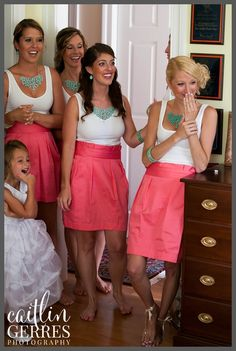 Bridesmaids seeing the bride for the first time - mix and match coral and aqua bridesmaids dresses or skirts - Virginia Wedding Photographer