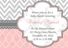 pink and grey baby shower - Could change it to be any event