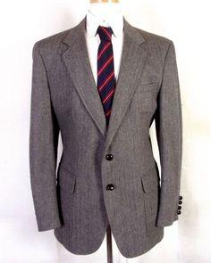 92206b90b euc Oxford House gray herringbone 100% Wool Tweed Blazer Sportcoat sz 42 R  #OxfordHouse