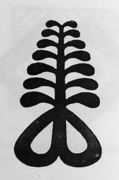 """AYA- means """"fern."""" This is a plant that can withstand diverse weather conditions and different soil types. It depicts forcefulness and perseverance in life. It is a symbol of hardiness, resourcefulness, endurance, and defiance. I think it is a little ironic that this was the symbol that was all over the ceiling of the Internet Café in Kumasi we went to. The one that only worked half the time."""