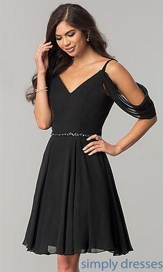 Short Homecoming Dress with V-Neckline
