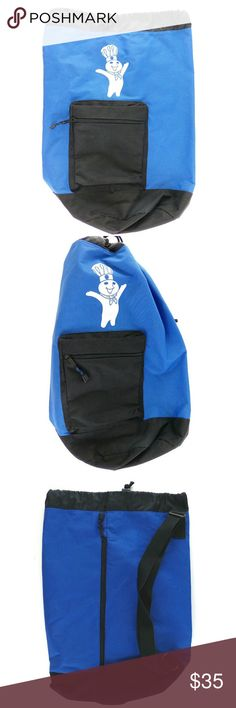 """Pillsbury Doughboy Shoulder Bag Backpack Lightweight blue bag feels like nylon with a coating on the inside (not 100% if it's water resistant but it feels like it could be) Single shoulder strap back has zippered access 21"""" tall x 16.5"""" wide x 10.5"""" deep at circular base nice used condition- slight scuffs on Doughboy Great simple and cute bag- perfect for beach or party. Leeds Bags"""