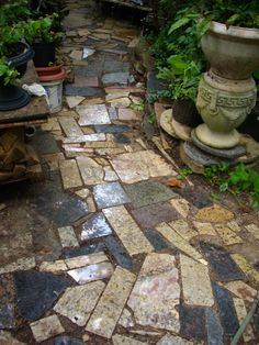 Stone path made of recycled granite.....