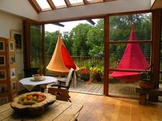 Cacoon modern hammock, discovered by The Grommet. A cross between a hanging tent and a hammock, the Cacoon Hammock, Indoor Hammock, Spa Luxe, Hanging Tent, Hanging Chairs, Garden Furniture, Outdoor Furniture, Low Loft Beds, Outdoor Rooms