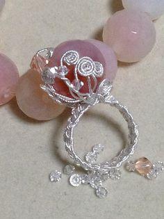Pink Quarts Ring silver crochet