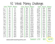 take the 52 week money challenge and easily save $1,378 this year!!