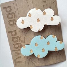 Rain Cloud Wooden Brooch £10.00