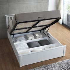Tesco direct: Happy Beds Malmo Wooden Ottoman Storage Bed Frame with Orthopaedic Mattress - White Bedroom Bed Design, Bedroom Furniture Design, Bed Furniture, Bedroom Decor, Luxury Furniture, Ottoman Storage Bed, Ottoman Bed, Bed Storage, Bed Designs With Storage
