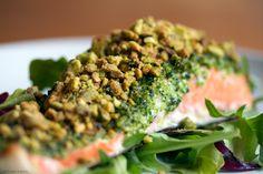 Pistachio Crusted Salmon with Broccoli Pesto