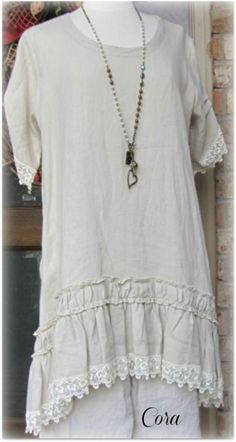 Gorgeous Tunic Dress by Classy Sassy Couture. Bone linen.