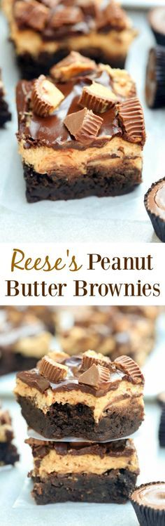 Reese\'s Peanut Butter Brownies are a chocolate and peanut butter lover\'s dream! Chewy homemade brownies with an amazing smooth peanut butter frosting. Topped with chocolate glaze and mini reese\'s cups. - Tastes Better From Scratch