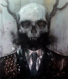 Skull with Horns, charcoal and Pastels, mixed media art. Dark Fantasy Art, Dark Art, Gothic Culture, Dark Thoughts, Manga Illustration, Illustrations, Skull And Bones, Skull Art, Zombie Apocalypse