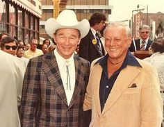 Bob Nolan and Roy Rogers - The photo was taken the day the Pioneers got their star on Hollywood Boulevard. In addition to the then current lineup headed by Lloyd, Roy and Bob were there along with a gaunt looking Hugh Farr