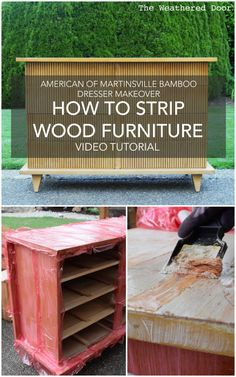 How to Strip Painted and Stained Wood Furniture  DIY Video Tutorial - AOM Bamboo Dresser Makeover