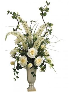 Grand Entrance Artificial Silk Foxtail/Rose/Ranunculus floral arrangement comes in Ceramic Vase beautiful white & cream colors used for that warm contrast. Rosen Arrangements, Winter Floral Arrangements, Peony Arrangement, Sunflower Arrangements, Artificial Floral Arrangements, Church Flower Arrangements, Church Flowers, Floral Centerpieces, Christmas Arrangements