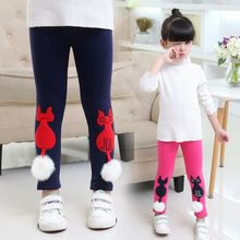 Children Plus Velvet Leggings For Girls Clothing Thicken Cartoon Cat Pants Girls Winter Trousers 4 6 8 10 12 Years Brand Clothes(China (Mainland))
