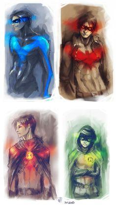 RobinS by ~AkiMao on deviantART -The Four Robins: Dick Grayson, Jason Todd, Tim Drake, and Damian Wayne