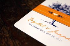 vintage illustration tree wedding invitation with a orange and blue colour theme! Yew!