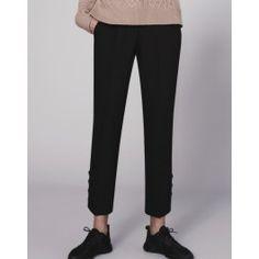 Button Hem Slim Crop Trouser