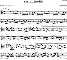 Les_cinq_jumelles Violin Sheet Music, Dion, Folk Music, Folk Dance, Music School, Binoculars