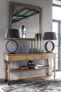 Influenced by the simple, elegant style of the Directoire range, the Haussmann collection is a daring retake of the past. Console Table, Consoles, Cosy Home, Showroom, Decoration, Entryway Tables, Ceiling Lights, Cabinet, Elegant