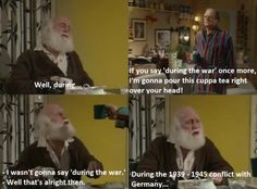 Uncle Albert (Buster Merryfield), and Derek 'Del Boy' Trotter (David Jason) in 'Only Fools and Horses' British Tv Comedies, British Comedy, Funny Kids, The Funny, Funny Cartoons, Funny Memes, Funniest Jokes, Uncle Albert, Reddit Funny