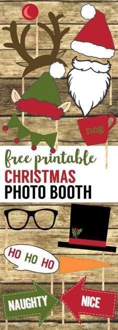 Free Christmas Photo Booth Props Printable. Easy DIY Christmas photo booth props free printable for your Christmas party fun. Christmas photo booth ideas. #papertraildesign #Christmas