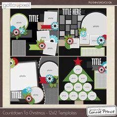 Countdown To Christmas - Digital Scrapbook 12x12 Temps (CU Ok) $3.99 at Gotta Pixel. www.gottapixel.net/