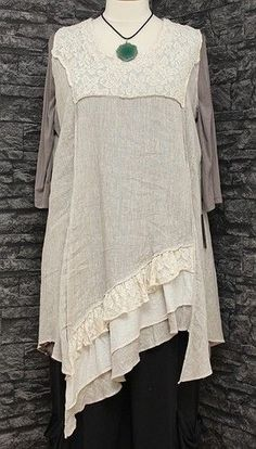 Sarah Santos Layering Quirky Linen Dress Tunic Oatmeal Beige Lagenlook Top OSFA…