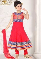 Red Net Readymade Anarkali Churidar Kameez