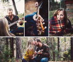 fun camping engagement session | playing guitar and wrapped in plaid blanket | Photo: Shannen Norman