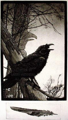 THE GIFT- (Raven Series, Totem, Feather) 2 plate Intaglio print.