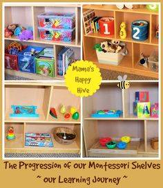 Toddler shelves - Mamas Happy Hive - The Progression of Our Montessori Shelves Montessori Homeschool, Montessori Toddler, Montessori Activities, Toddler Class, Toddler Age, Toddler Learning, Early Learning Activities, Craft Activities For Kids, Kids Crafts