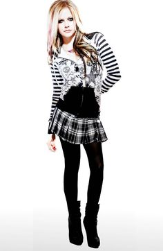 Avril Lavigne's hair looks awesome! :D her outfit looks like a girl attending a school of rock and roll. :D