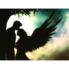 Silhouette: man leaning on tree and woman angel -- maybe a deceased spouse?