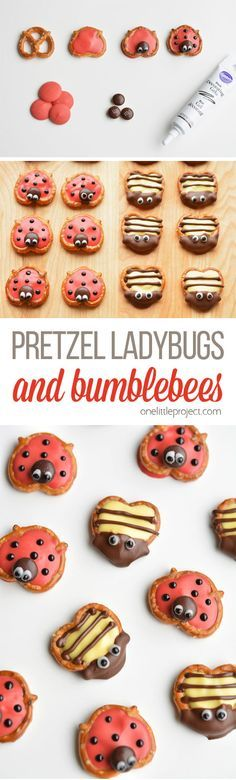 These pretzel ladybugs and bumblebees make an ADORABLE spring treat! They are easy to put together and are perfect for a spring birthday or class party!! - From onelittleproject.com