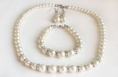Bridesmaid jewelry set pearl necklace by WeddingCollections, $25.00