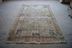 6'9''x10'11 Faded Turkish Carpet Distressed Oushak Rug by RugToGo