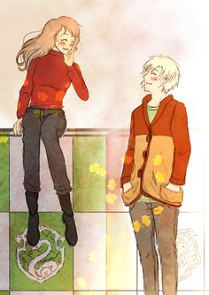 """Colorful autumn"" (Dramione) The autumn can be so beautiful :). Draco had his training before the Gryffindors. Hermione wants to see her friends. When Draco discoverd Hermione, he stays with her and. Harry Potter Puns, Harry James Potter, Harry Potter Anime, Draco And Hermione Fanfiction, Draco Malfoy, Hermione Granger, Dramione Fan Art, Saga, Nerd Humor"