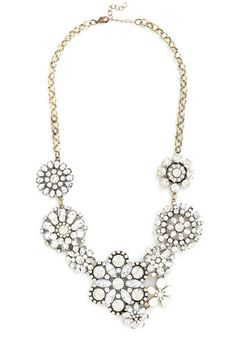 Glitz a Beautiful Night Necklace. Just as the stars twinkle brightly in the night sky, so do you shine - thanks to the dazzling feel of this floral statement necklace. #gold #prom #modcloth