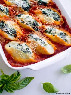 Easy weeknight meal for the whole family - Spinach and Ricotta Stuffed Shells.