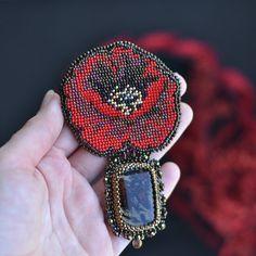 Red Poppy Beadwork Brooch Bead Embroidery Brooch Red Chic Brooch Seed Bead Embroidery Jewelry Вышитая брошь Вышивка бисером Брошь мак