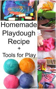 Homemade playdough recipe plus tools for play