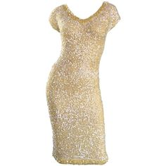 1950s Gene Shelly's Pale Yellow Fully Sequined 50s Vintage Wool Wiggle... ❤ liked on Polyvore featuring dresses, vintage dresses, vintage sequin dress, vintage wiggle dress, brown cocktail dress and sequin embellished dress