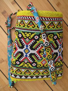 colorful bag, made of beads, made by hand, Kalimantan, Indonesia