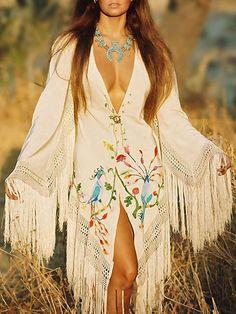 White Tasseled Embroidered Midi Dress – oshoplive