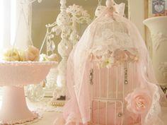 Pretty pink shabby chic birdcage , www.luvmystuff.com.au