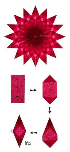 #Bastelanleitung für einen Weihnachtsstern: Nachdem die 16 Ecken fertig sind, müssen sie nur noch wie ein Stern angeordnet und angeklebt werden.
